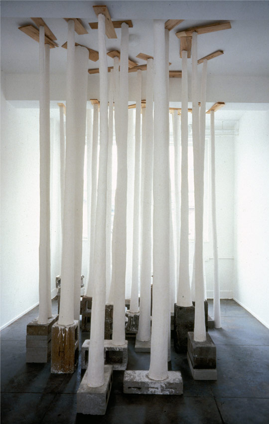 Trees, 1994-1995,   Hydrocal over chickenwire & steel, cinder blocks & cedar shims, variable dimensions.