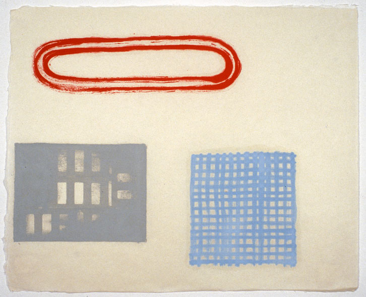 Small Block Group-002, 2001,   oil on Japanese paper, 17 x 20.5 inches / 43.2 x 52.1 cm
