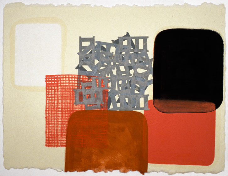 Block Group-003, 2002,   oil on Japanese paper, 26.5 x 35 inches / 67.3 x 88.9 cm