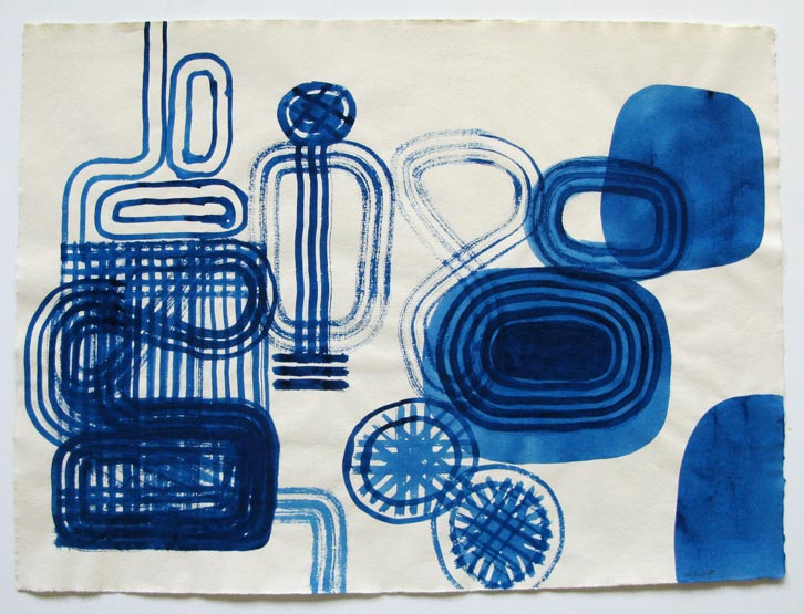 Prussian Blue Series-005, 2008,   gouache on Fabriano paper, 19.3 x 26 inches / 48.9 x 66 cm