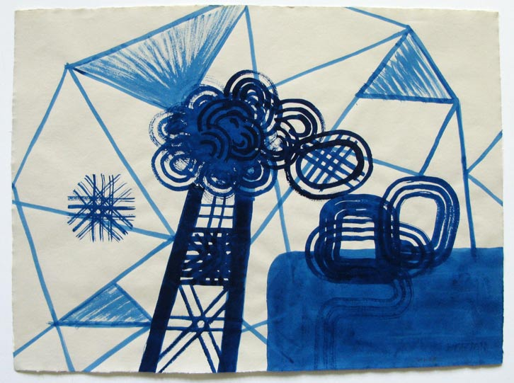 Prussian Blue Series-002, 2008,   gouache on Fabriano paper, 19.3 x 26 inches / 48.9 x 66 cm