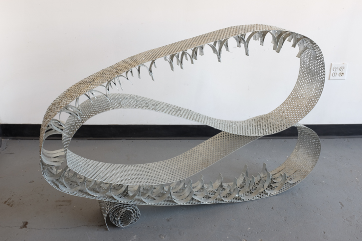 Big Wave, 2015,   welded, hot dipped galvanized mild steel, 33 x 53 x 9 inches/ 83.8 x 134.6 x 22.9 cm