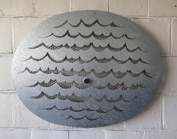 Wall Waves with Stopper, 2014,   welded, hot dipped galvanized mild steel & rubber stopper, 36 x 45.5 x 4.5 inches / 91.4 x 115.6 x 11.4 cm