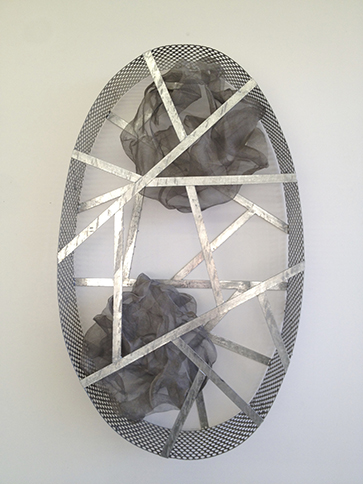 Wall Ellipse, 2014,   welded, hot dipped galvanized mild steel & stainless steel mesh, 46.5 x 27.5 x 9 inches / 118.1 x 69.9 x 22.9 cm