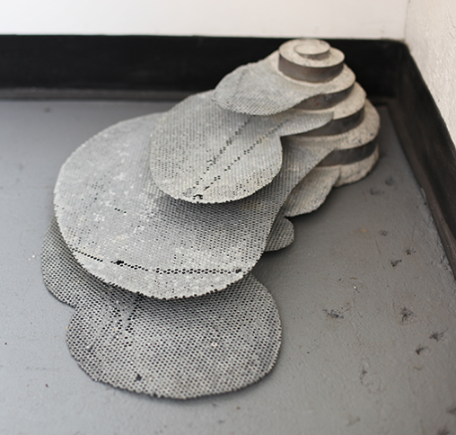 Stepped Cantilevered Landscape, 2012,   cement & mild steel, 6.5 x 24.5 x 15.5 inches / 6.5 x 62.2 x 39.4 cm