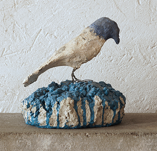 Blueheaded Bird on Blue Base, 2012,   cement & mild steel, 6.3 x 6 x 6 inches / 15.9 x 15.2 x 15.2 cm