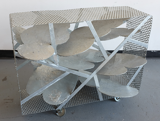 Cloud Box on Wheels, 2014,   welded, hot dipped galvanized mild steel & creeper casters, 36 x 45.5 x 4.5 inches / 91.4 x 115.6 x 11.4 cm