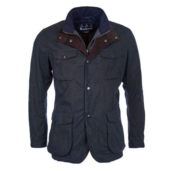 Ogston navy Barbour wax jacket