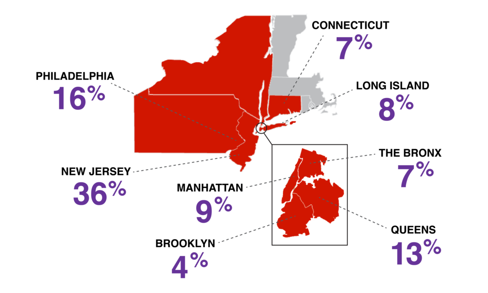 Map of AYA student breakdown: New York, New Jersey, Pennsylvania, and Connecticut