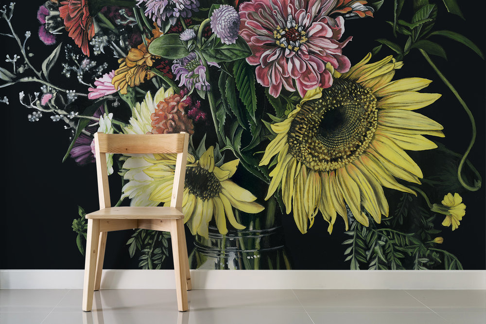 Dark floral bouquet wooden chair.jpg