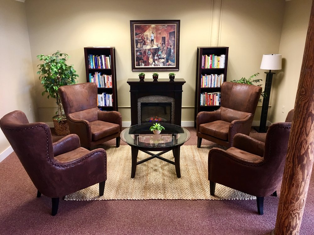 Our self-help library offers another relaxing place to sit fireside and scan our collection of books that can be  checked out for free.