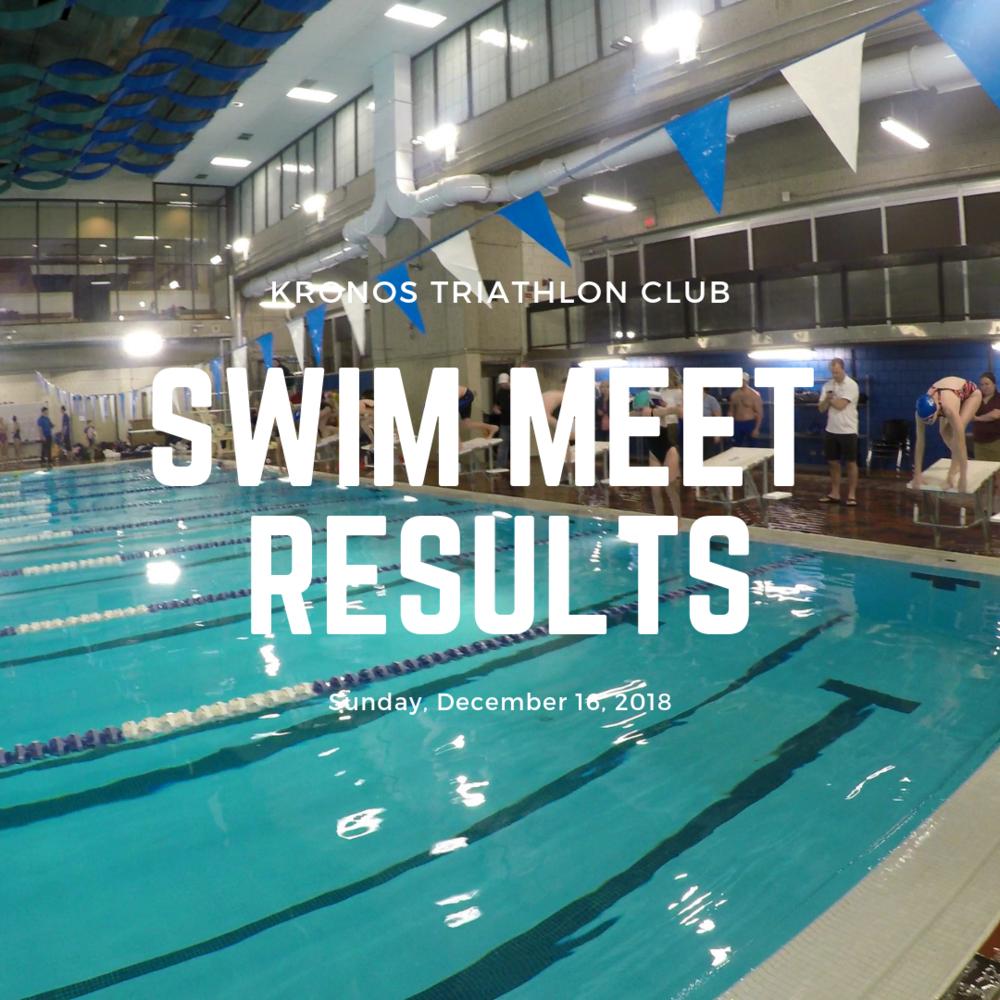 Kronos Triathlon Club Swim Meet Results December 2018
