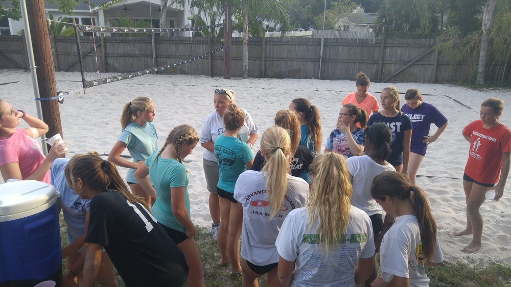Jax Beach VB huddle