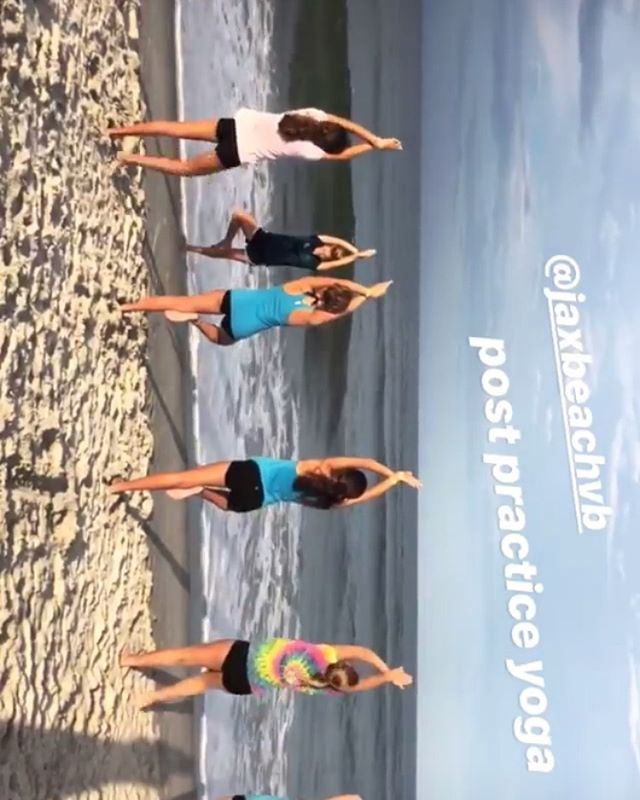 We yoga and stuff. #tgif #jaxbeachvb  #yoga #flexibility #touchyourtoes #goodmornings #warriorsonthesand  photo cred: @__cocomiller