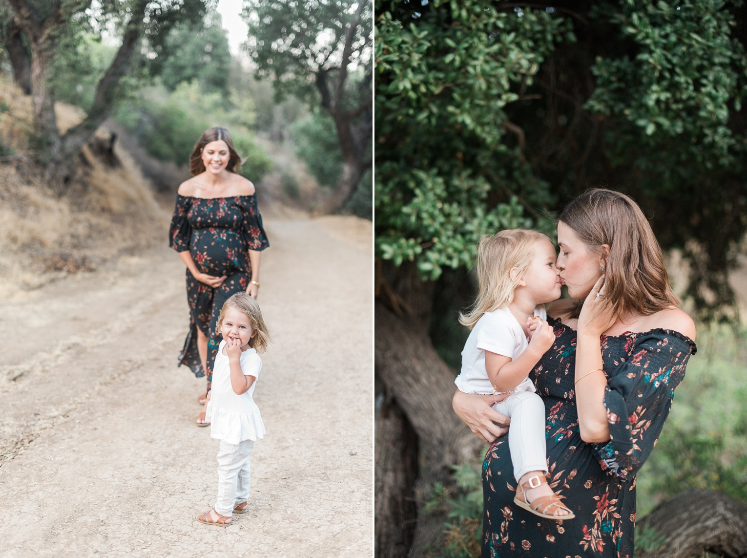 Los Angeles Griffith Park Maternity Photos Mom and Daughter Kissing