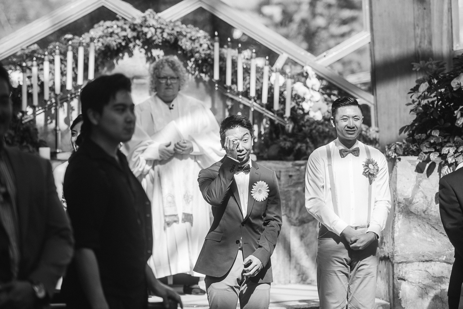 Wayfarers Chapel Wedding Photos Groom Crying