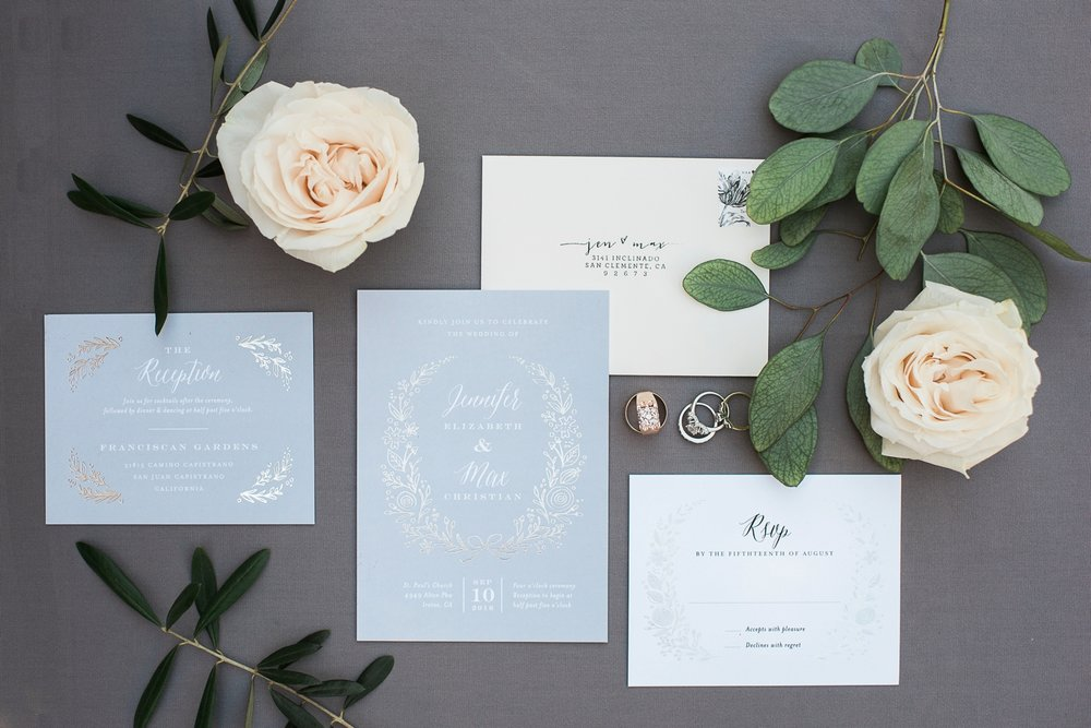 Picturesque Franciscan Gardens Wedding Stationary