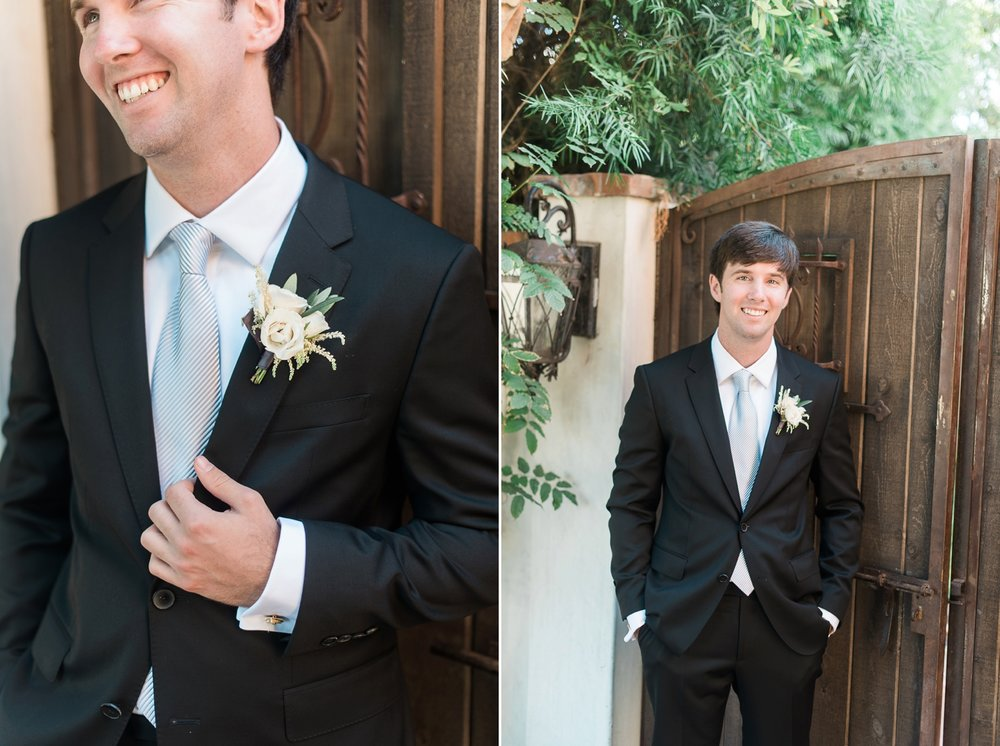 Picturesque Franciscan Gardens Wedding Groom