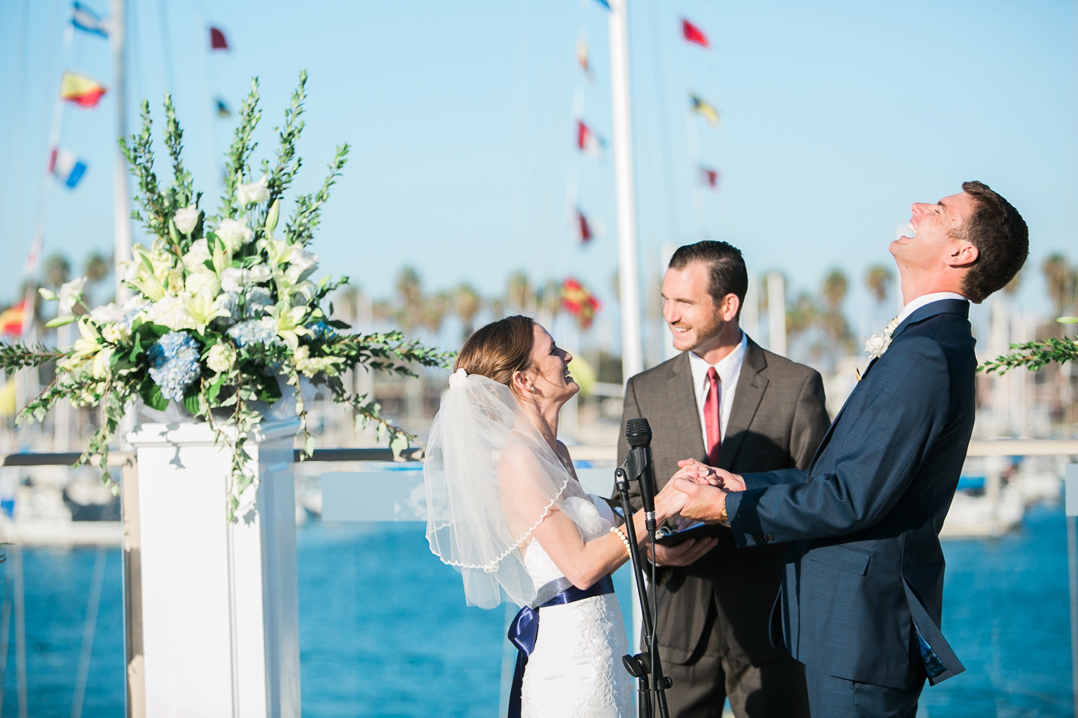 Long Beach Yacht Club Wedding Groom Laughing