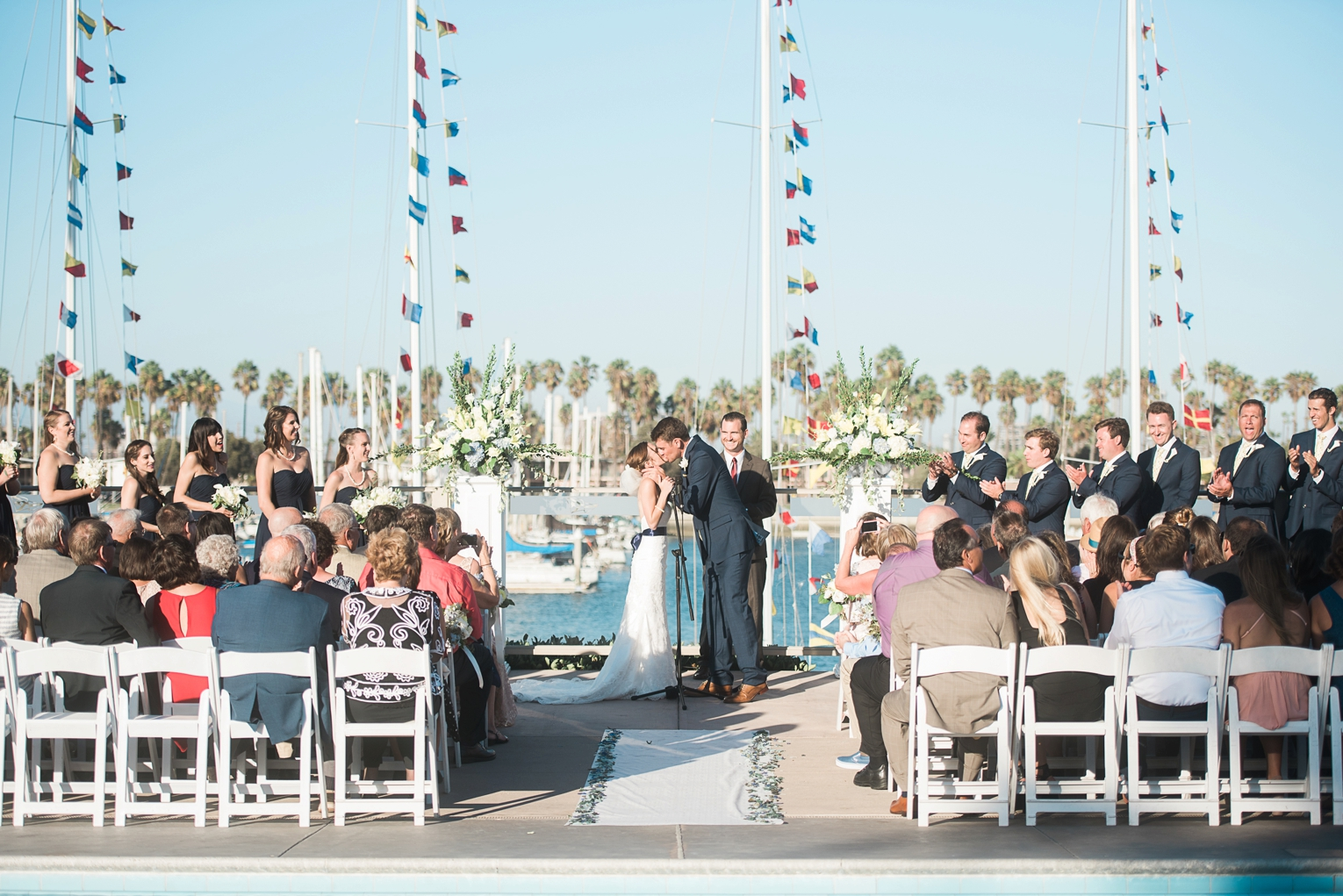 Long Beach Yacht Club Wedding First Kiss