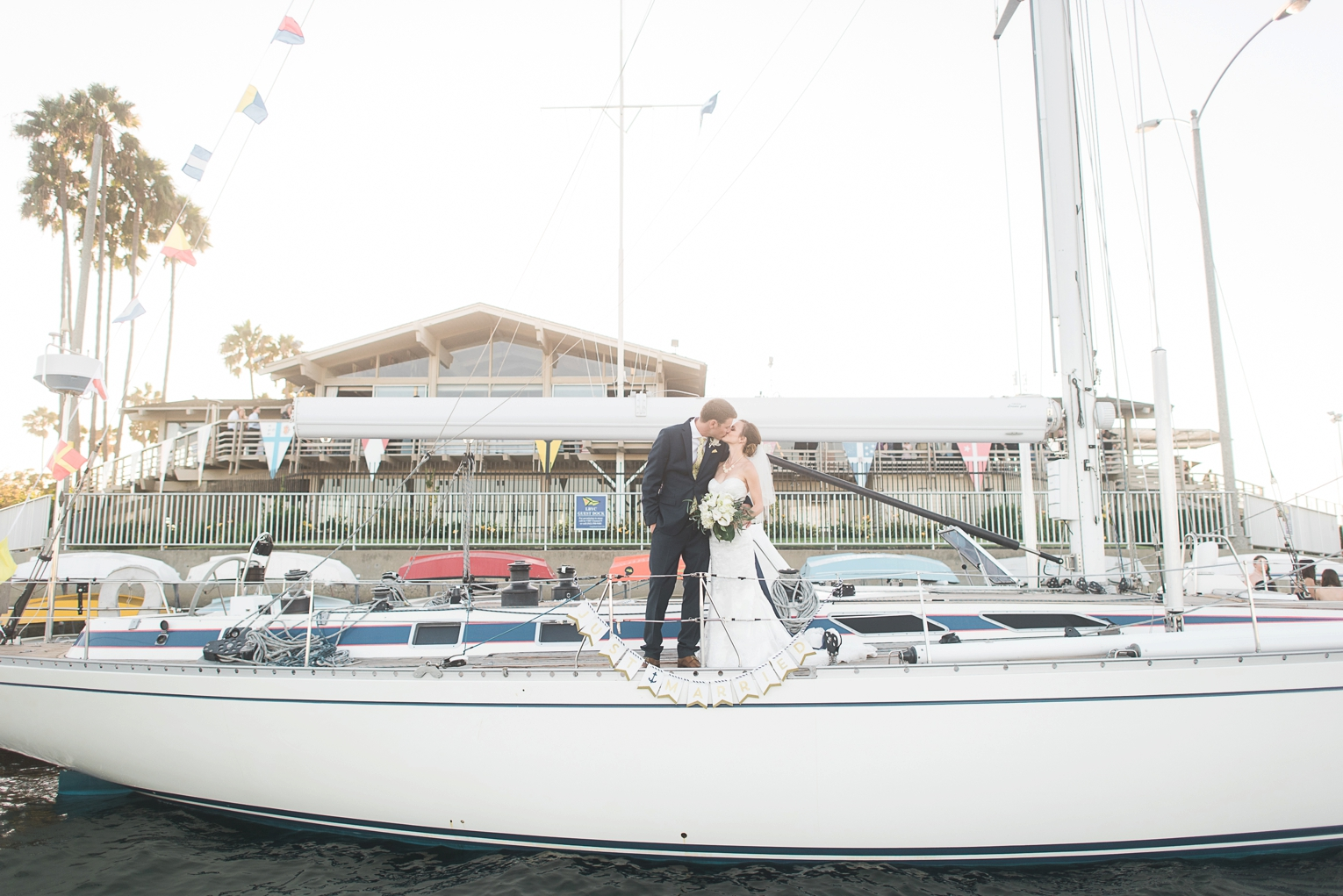 Long Beach Yacht Club Wedding Boat Married