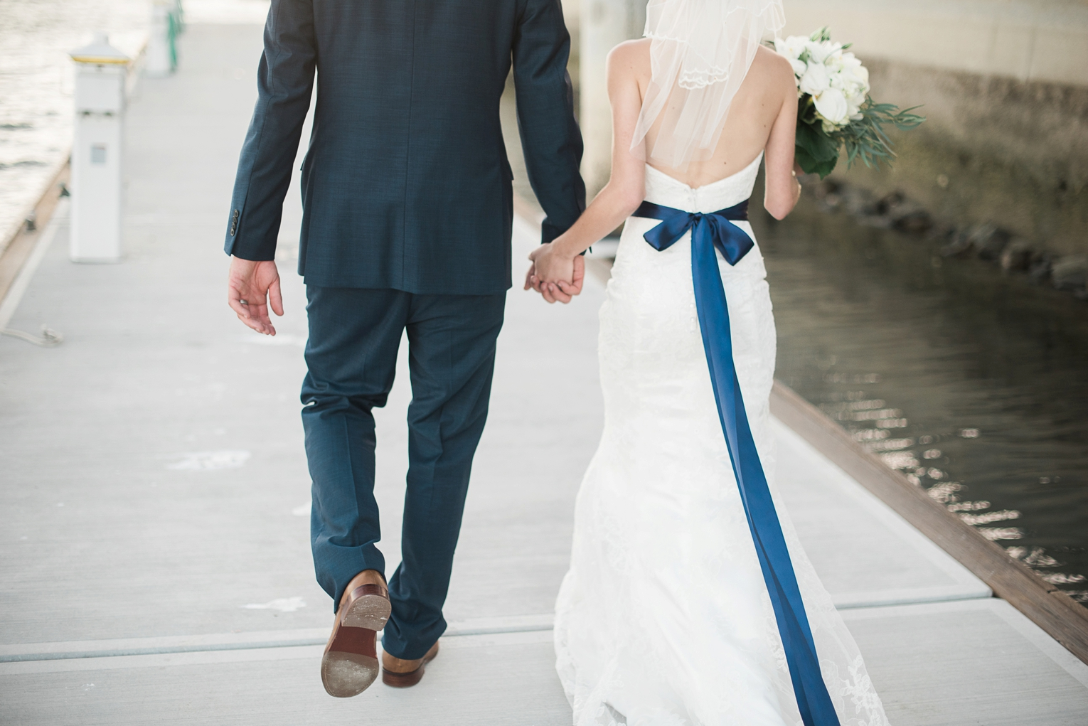 Long Beach Yacht Club Wedding Holding Hands