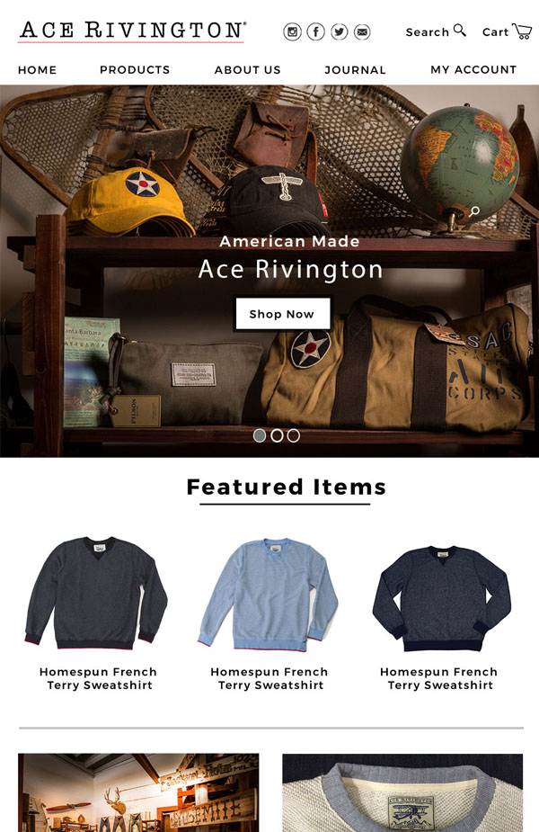 Ace Rivington Website Redesign - As a manufacturer of premium quality denim, California-based brand Ace Rivington had no problem promoting their own product line. Yet when they wanted to expand their digital offerings to other companies' products, a website relaunch was needed.