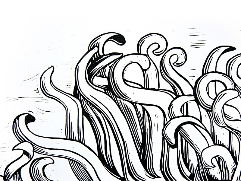 Acorn Caps linocut - NessyPress.com