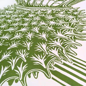 Datura linocut - NessyPress.com