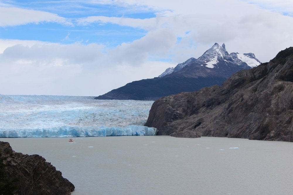 Grey Glacier from the Mirador (note ferry for scale)