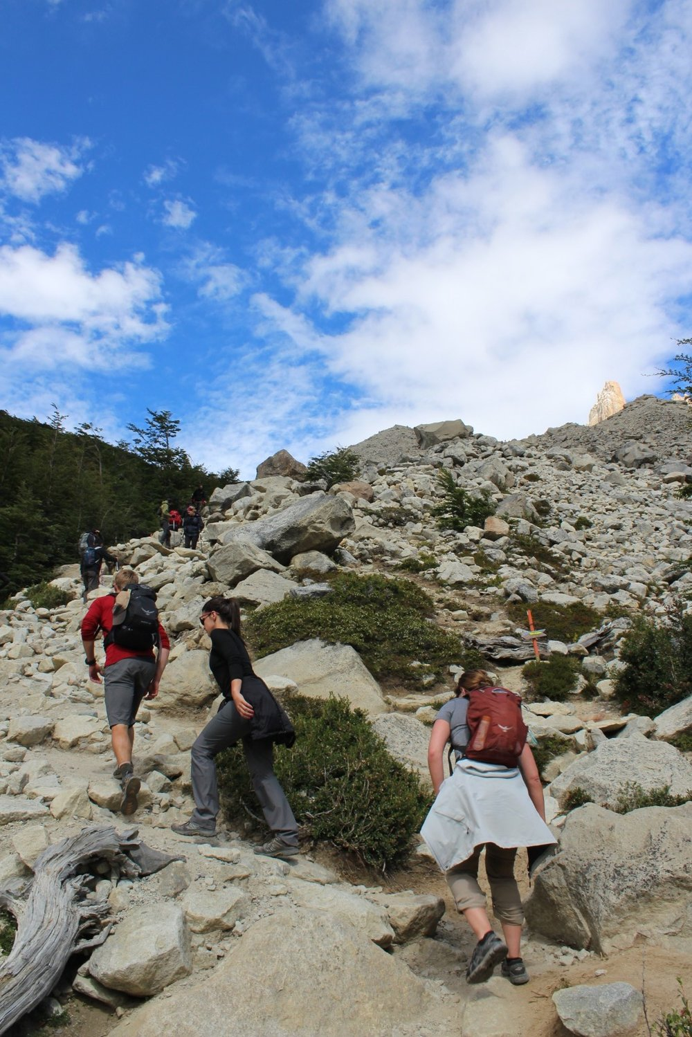 Steep climb to the Base las Torres