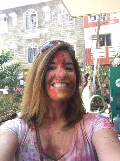 playing Holi with new friends