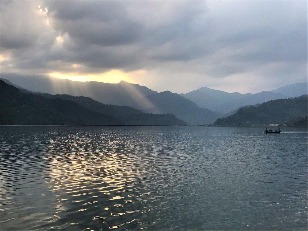 Sunset on Fewa Lake
