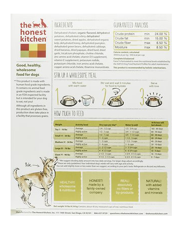 The Honest Kitchen Force Grain Free Dehydrated Dog Food