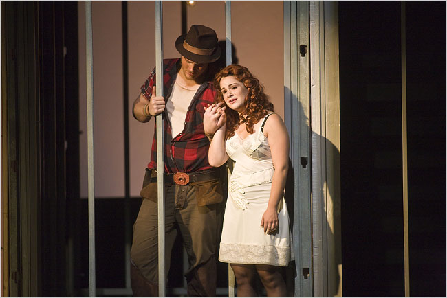 Rebecca Jo Loeb and Steven Ebel in a scene from  Rise and Fall of the City of Mahagonny  at Tanglewood .  Photo by Michael J. Lutch for  The New York Times .