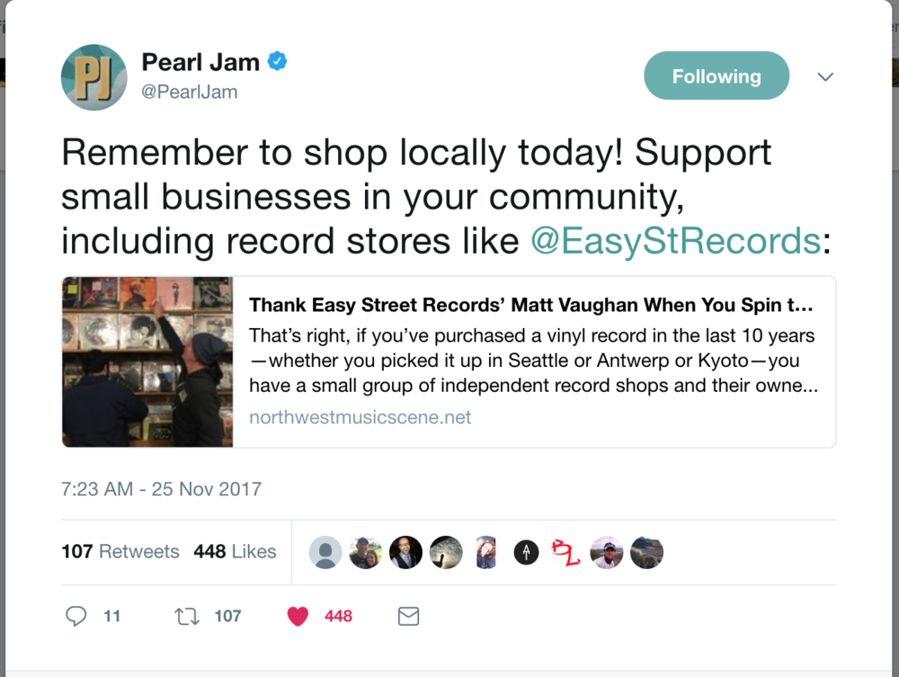 Pearl Jam Tweets the Story