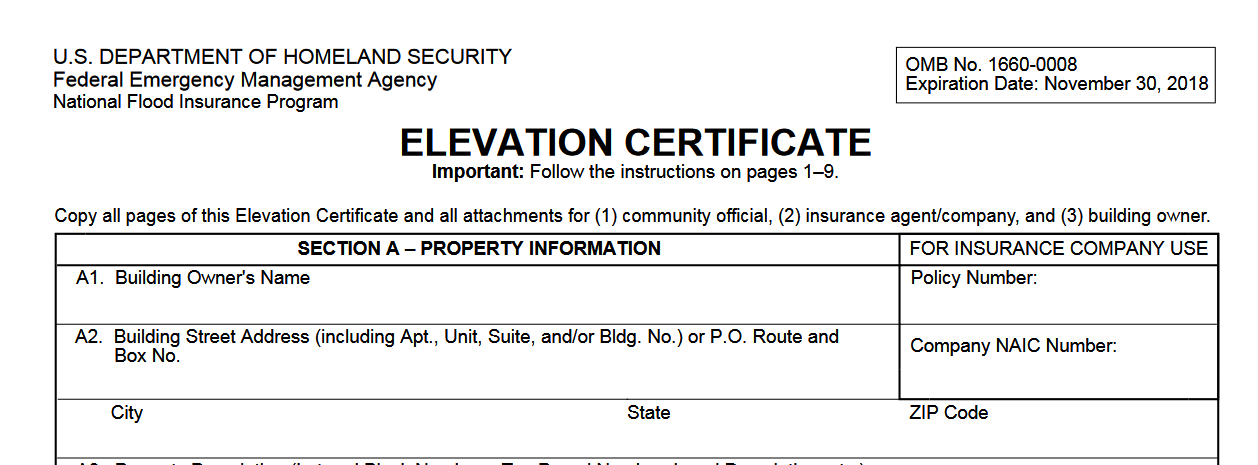 Elevation Certificate Miami Dade Hialeah Florida