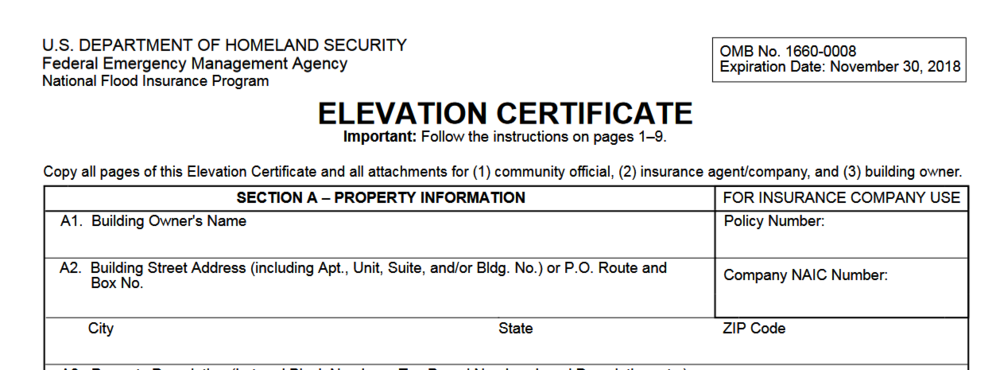 elevation certificate miami dade, hialeah, florida