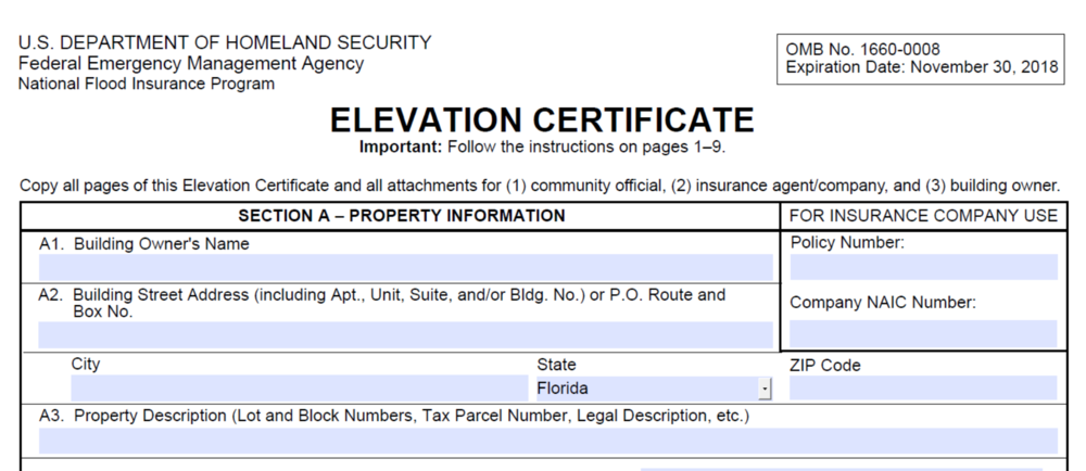 Elevation Certificate Miami.