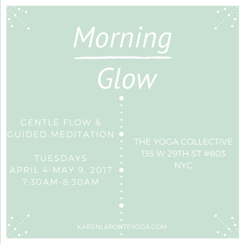 The spring session of Morning Glow is on Tuesdays, April 4-May 9th at the Yoga Collective. Mats and props are provided. Individual class is $18. Discounted class packs are available for 3, 6, or 12 pack options and are good for future Morning Glow classes.