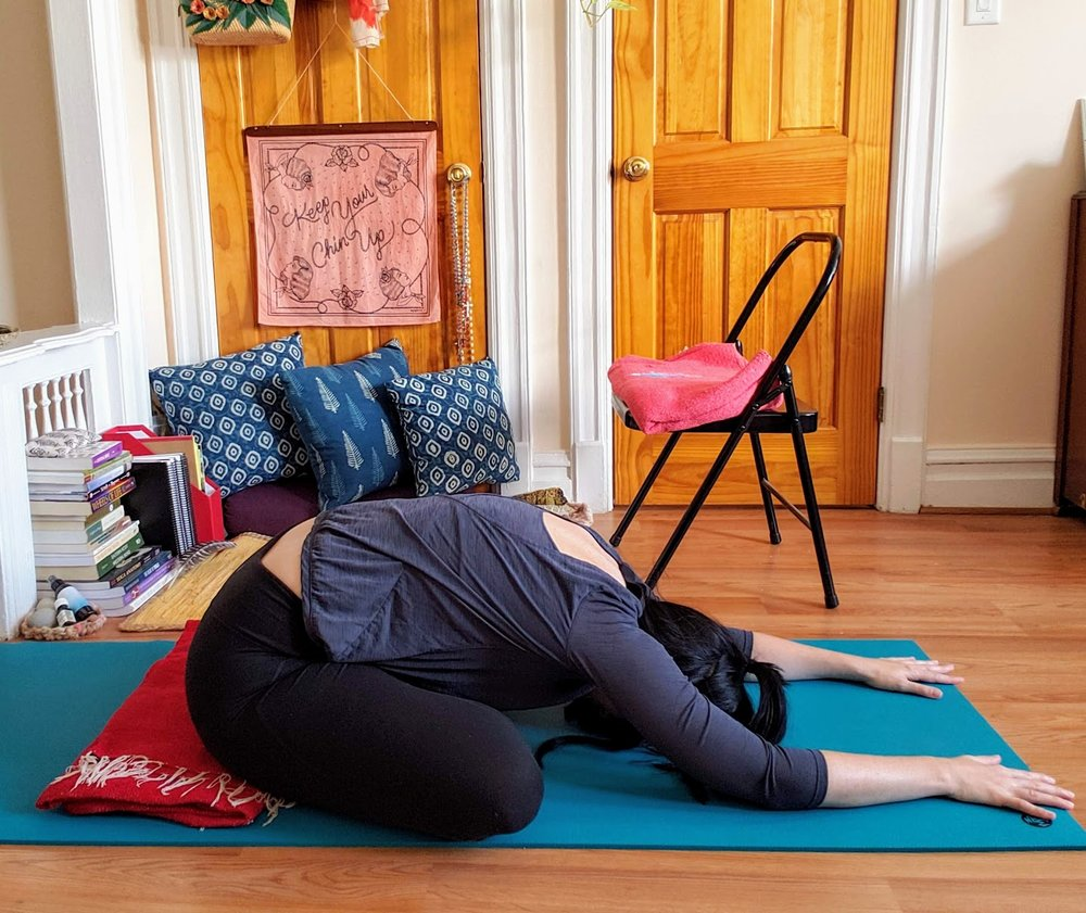 Hinge at hips. Reach forward with chest. Release tension in hips. Rest forehead on mat or on a block.