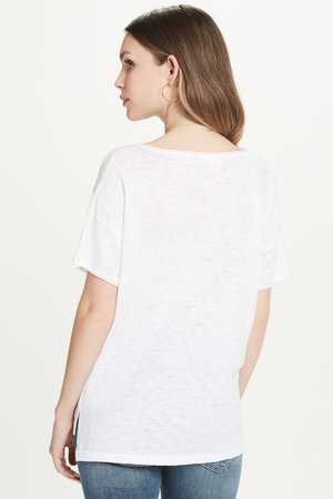 d05fb8f2586 High Low Drop Shoulder Tee White