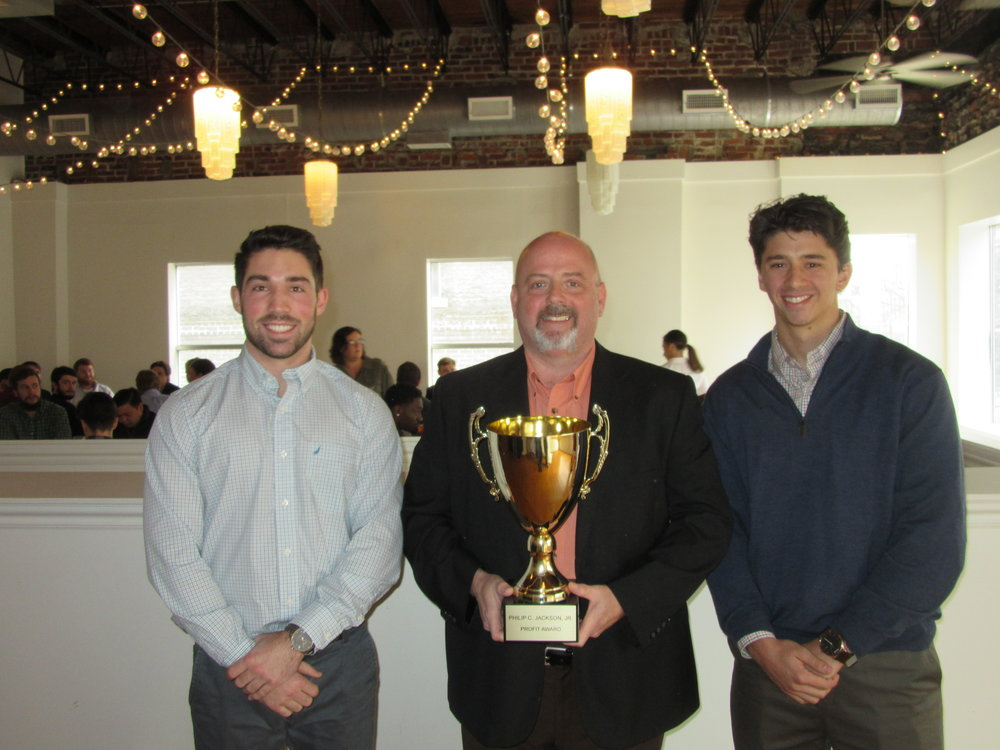 Featuring Iron City Apparel which received the Phillip C. Jackson Jr. Profit Award (left to right: Dylan Rose, Cliff Poe, and Jacob Dresher).