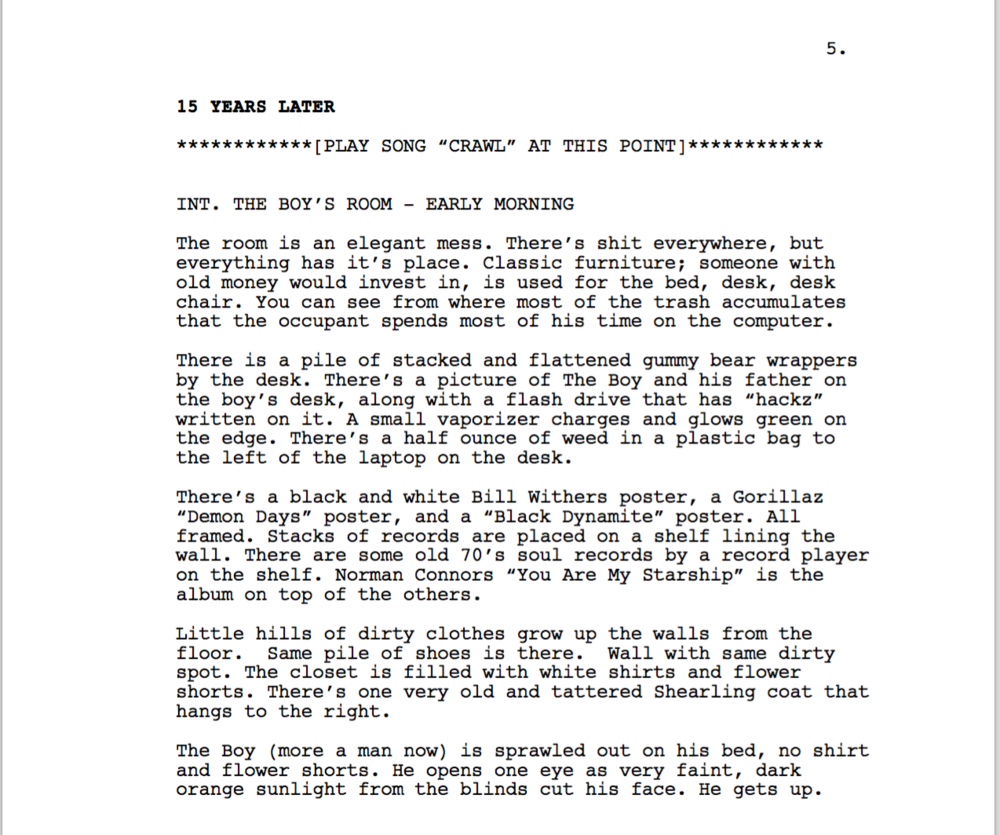 Excerpt from page 5 of  Because the Internet  screenplay.