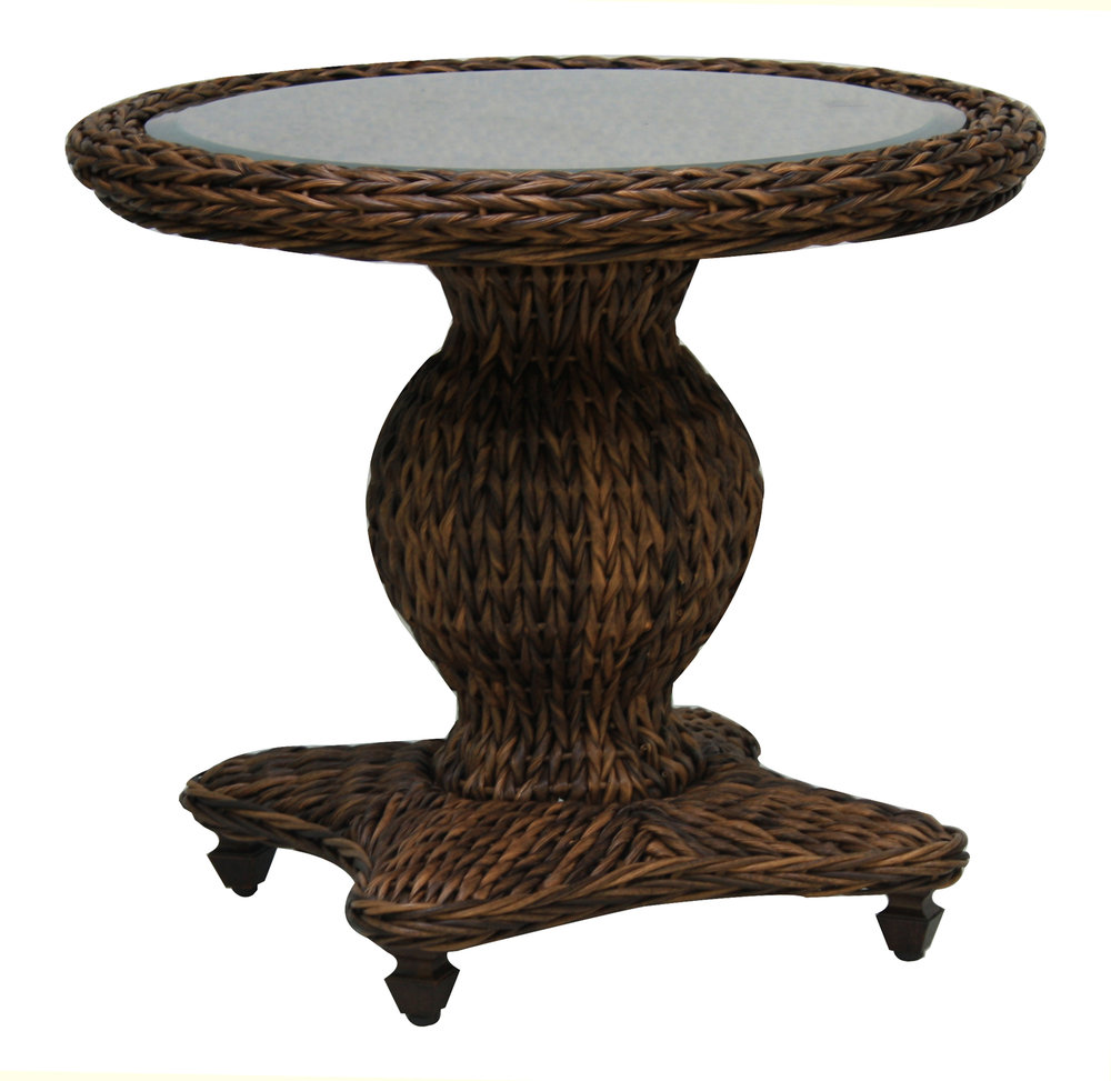 "973822 Antigua End Table          *see Book         (973822TW   Antigua Woven Top & Glass)              (973822B       Antigua End Table Base)  26.1"" x  26.1""  x  21.9"""