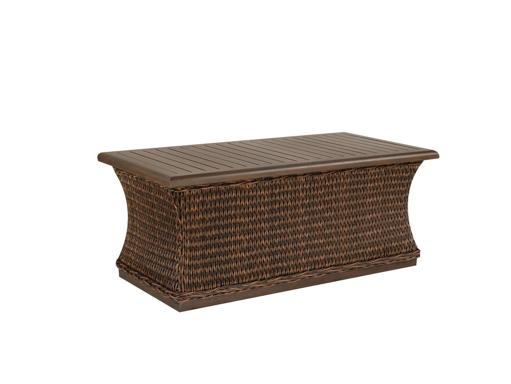 "973034B Monticello Woven Coffee Table Base   (Top : W-2648 Farnham Aluminum Faux Wood Top)  42.3"" x 19.5"" x 17.5"""