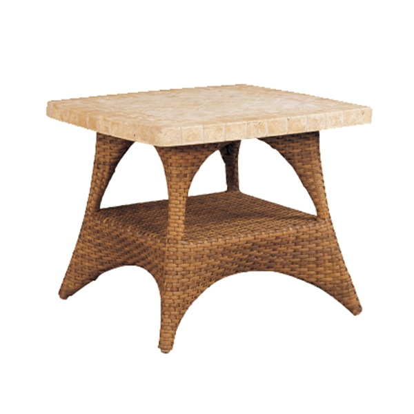 "970206B Cayman End table Base   (Top : BC-23S Regent Aluminum Faux Stone Top)  20"" x 20"" x 17.5"""