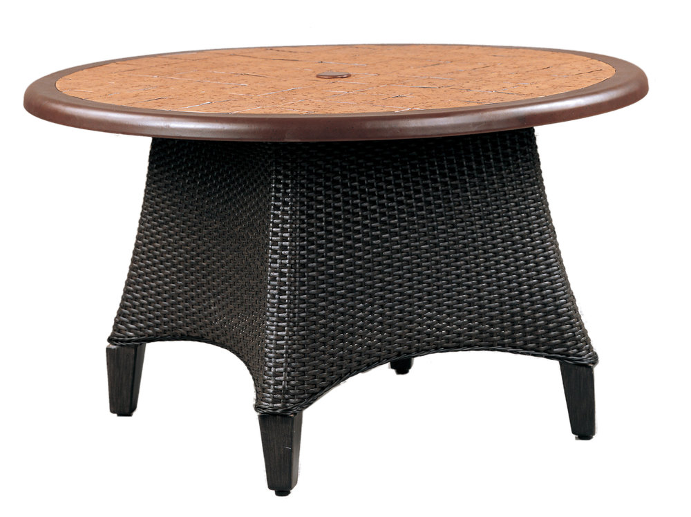 """970142B Monterey Conversation Table Base   (top : CS-24R Grandeur Aluminum Faux Stone Top)  25.5"""" x 25.5"""" x 22.8"""""""