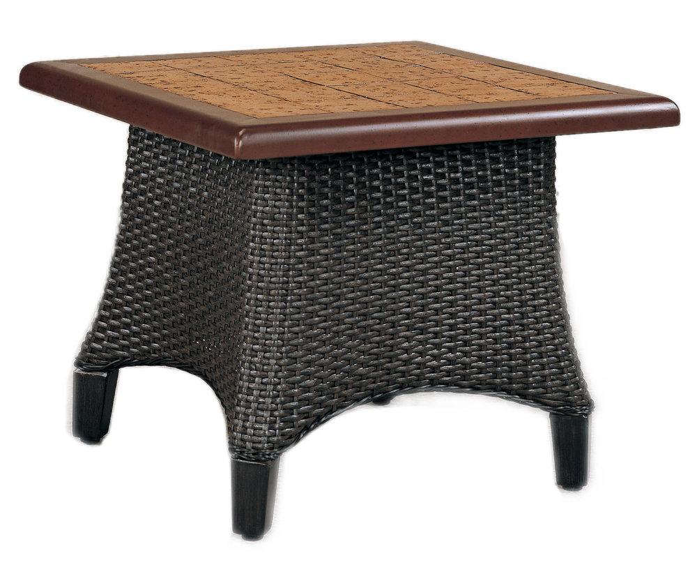 """970124B Monterey End Table Base   (top : CS-23S Grandeur Aluminum Faux Stone Top)  19"""" x 19"""" x 17.8"""""""