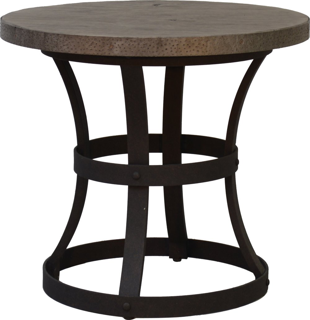 """PL-24R 24"""" Round End Table Base   18"""" dia x 21""""  Top - EA-24R Erie 23"""" Round Faux Wood Top Reclaimed Barnwood"""
